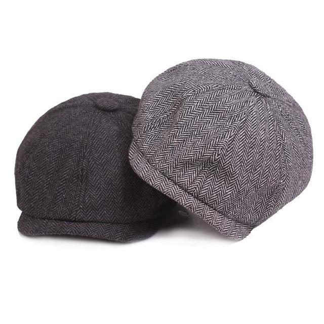 2018 New Tweed Gatsby Newsboy Cap Men Autumn Winter Hat Golf Driving Flat  Cabbie Flat Berets Hat Peaky Blinders Hat Bone Unisex ee8405768a81