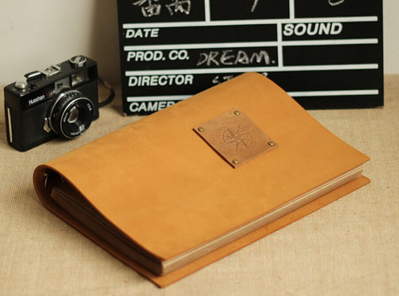 78 Pages Leather Scrapbook Album Photo Book With Gift Box Set