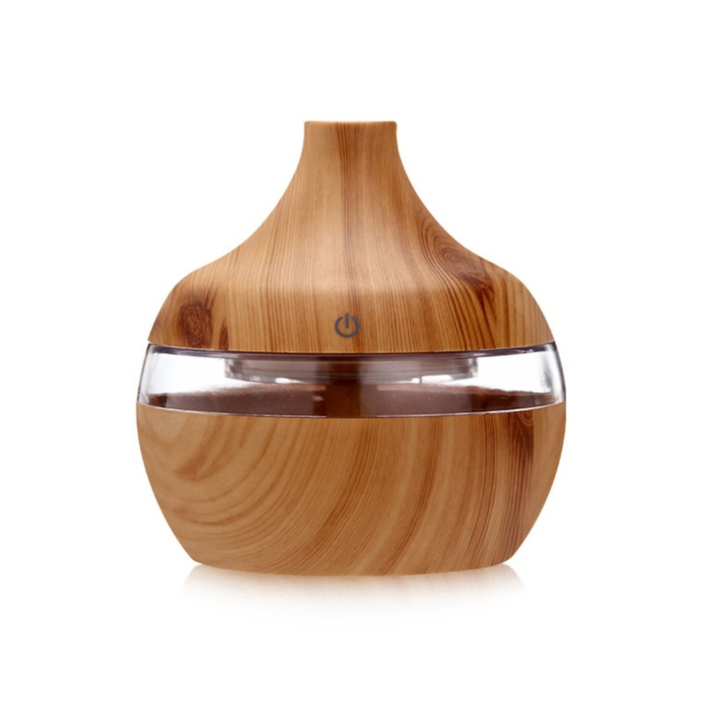 300ml Wood Grain Essential Oil Aromatherapy Diffuser USB Charging Home Air Humidifier Purify Soothing LED Night Light Mist Maker Humidifiers     - title=