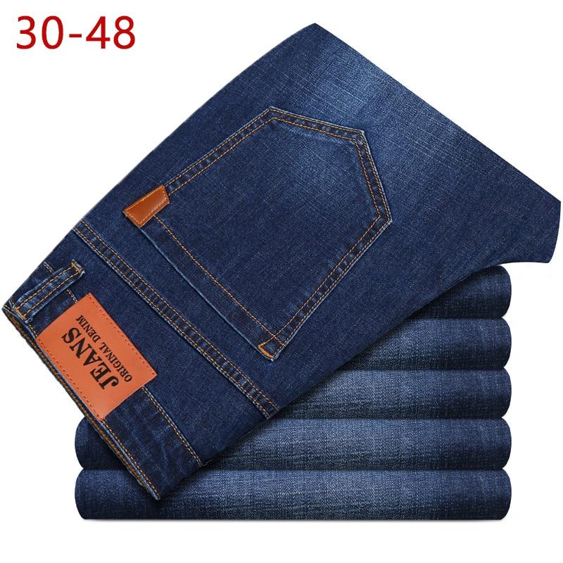 86 Big Size 44 46 48 Jeans Men New Stretch Cotton Breathable Spring Autumn Denim Long Pant Lightweight Jeans Work Leisure Pant
