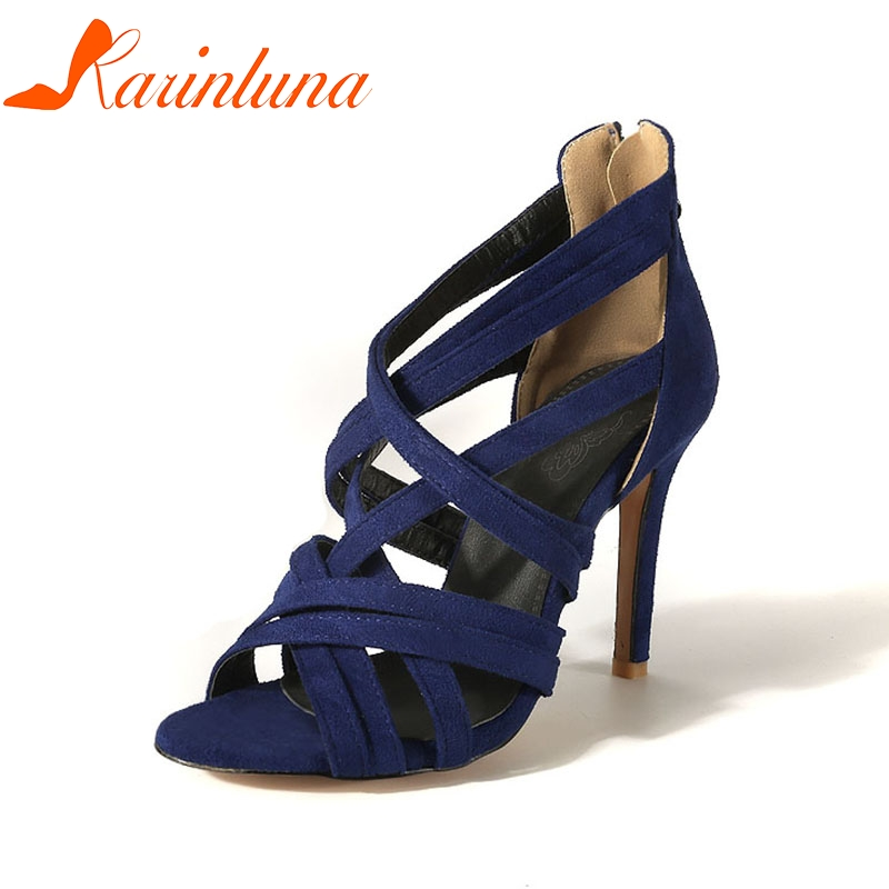 Karinluna 2018 Plus Size 32 46 Rome Gladiator Brand Shoes Summer Sandal Woman Sexy Thin High Heels Party Sandals Women Shoes by Karin Luna