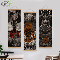 Wall art picture paintings by numbers poster Japan Samurai Wall Art Picture Hanging Scroll Painting With Wood Hanger 3Pcs