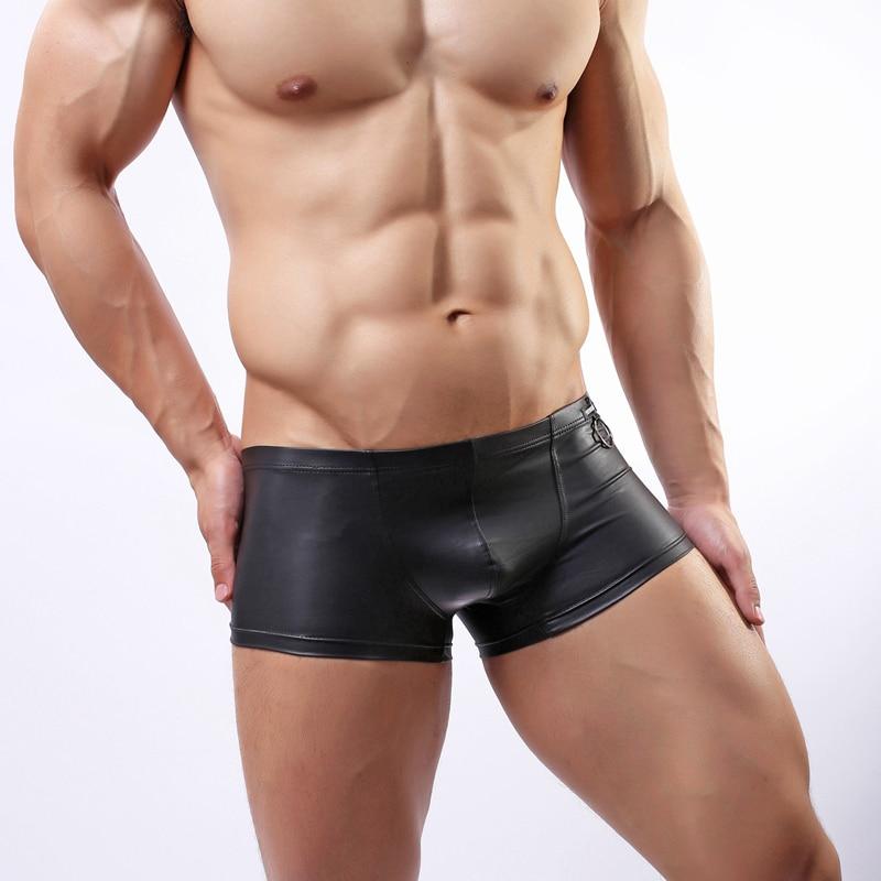 גברים סקסי כיף בוקסר מכנסיים עור פטנט עם טבעת תחתונה סלים התאים מתאגרפים