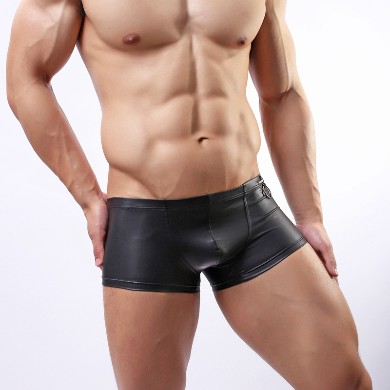 Men's Sexy Fun Boxer Shorts Patent Leather With Ring Underwear Slim Fit Boxers