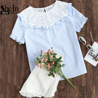 SheIn Women Summer Blouse 2017 Eyelet Embroidered Yoke Frill Trim Striped Top Short Sleeve Color Block