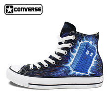 Man Woman Converse All Star Shoes Police Box Galaxy Design Hand Painted High Top Canvas Sneakers