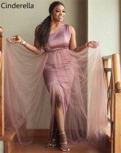 Image 2 - One Shoulder Side Slit Floor Length Elastic Satin Mermaid Bridesmaid Gowns Cheap Satin Bridesmaid Dresses