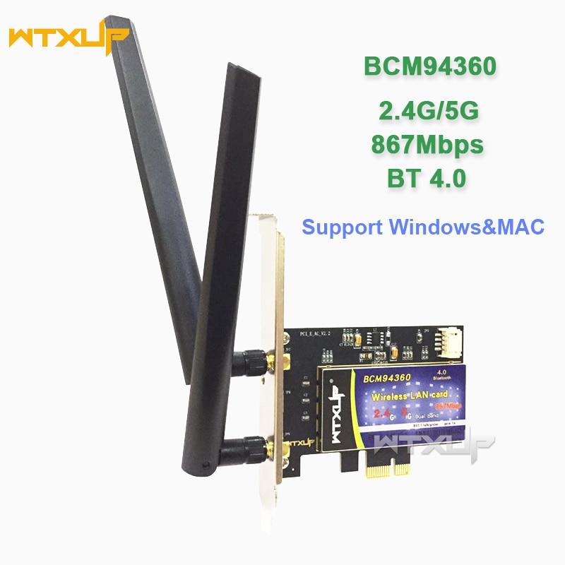 802.11AC Dual Band network card Broadcom BCM94360 867Mbps PCI Express DESKTOP WIFI Adapter Bluetooth BT 4.0 for Mac/Hackintosh(China)
