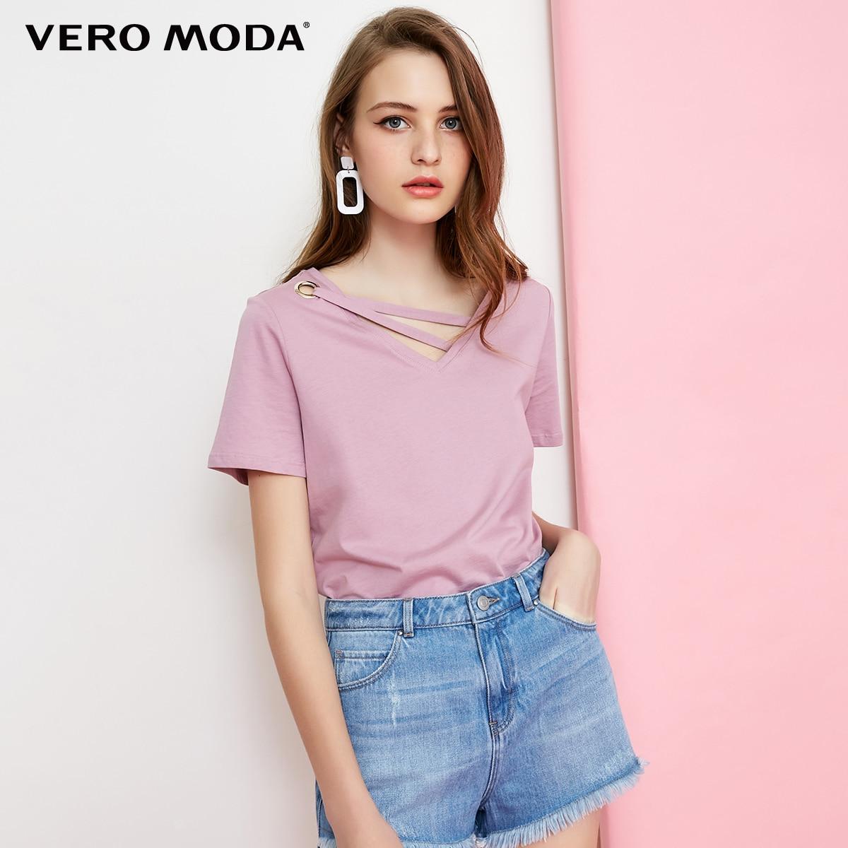 Decorative-Band T-Shirt Short-Sleeve Collar Vero Moda Casual Pure-Color 100%Cotton 318101523
