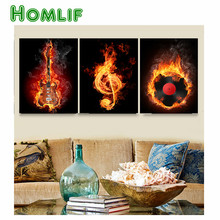 Music 3 Piece Wall Painting Abstract diamond Embroidery Black Burning Guitar Pop Art Pictures diamond painting home Decoration