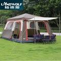 Landwolf Marrone di colore Ultralarge 6 10 12 doppio strato esterno 2 saloni e 1 sala famiglia tenda da campeggio includono 1 set anteriore pole