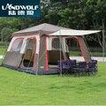 Landwolf color marrón Ultralarge 6 10 12 doble capa al aire libre 2 salas de estar y 1 sala de campaña familiar incluye 1 Juego de poste delantero