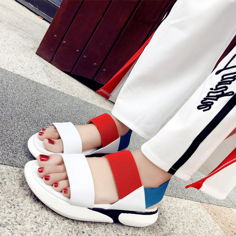 2018 Summer slip on Rome slip on adult sandals high quality hot sales women  shoes Patchwork fashion beautiful ladies sandals dddf057abcfc