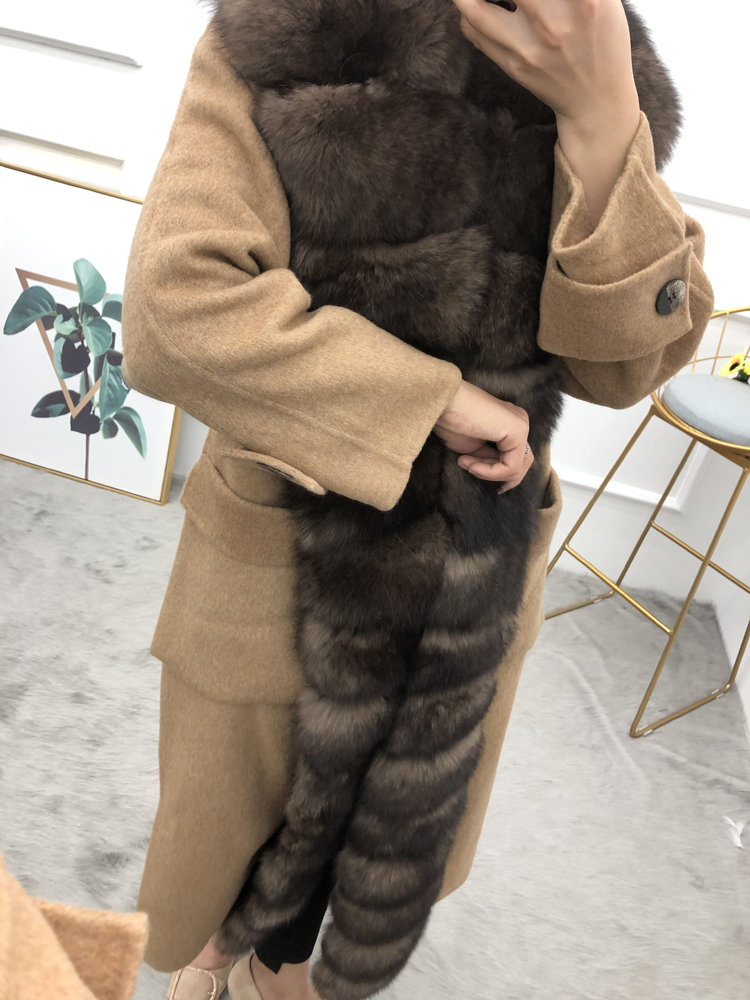 Women cardigans plus long wool coat with long real fox fur detachable threshold female overcoat spring antumn winter outerwear