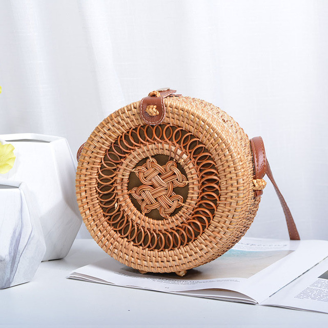 Vintage Handmade Women Rattan Bag Straw Woven Shoulder Bags Bow Holiday Beach Bohemia Crossbody Bag Messengers Handbag 4