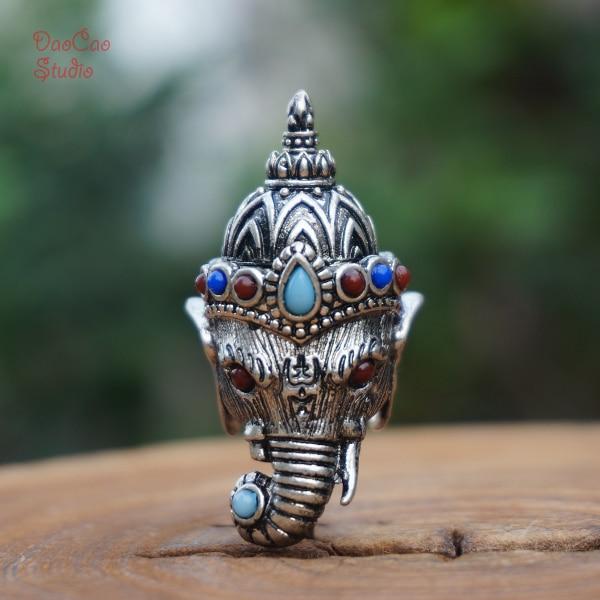 Silver Guru Beads Carved Elephant Head Ganesha Loose Beads Mala Beads Japa Beads Bracelet Pendant Earrings Jewelry Findings DIY