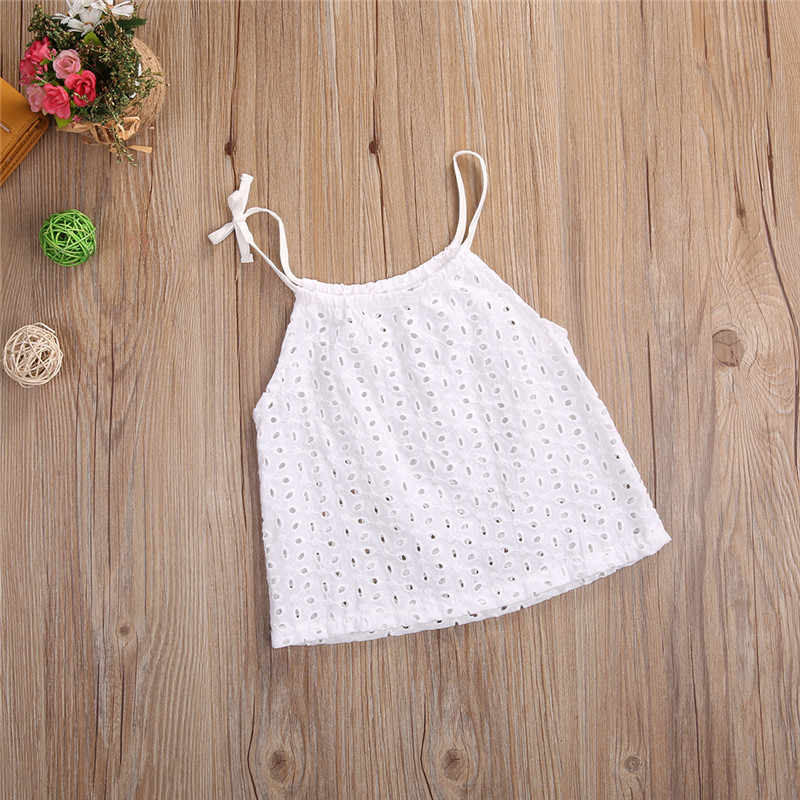 15f23aee1abc90 ... Girls Summer Lace up T-Shirts Cute Hollow Out White Tops Tee Sleeveless  Summer Cool ...