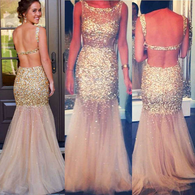 Champagne sin respaldo prom vestidos brillantes con cuentas vestido ...
