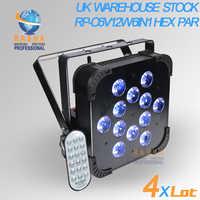 4X LOTTO Stock NEL REGNO UNITO 40 Gradi 12*18 W 6IN1 RGBAW UV DMX512 Costruito in Wireless IRC LED Piatto par Can Wifi Luce Della Fase A Distanza
