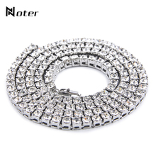 Noter Luxury Cubic Zirconia Hiphop Chain Necklace 24 Inch Long Gold Silver Color Mens Rock Tennis Necklace For Males Jewelry