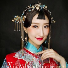 fashion New Chinese Brides Hairdress Retro tiara Show Hairpin Earring Wedding Accessories