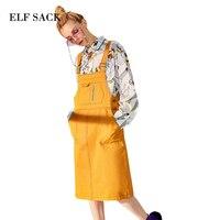 ELF SACK 2018 Phụ Nữ Mùa Xuân Sling Váy Công Nhân Pockets Loose Strap Dresses Harajuku Womens Kim Loại Buttons Thẳng One-Pieces