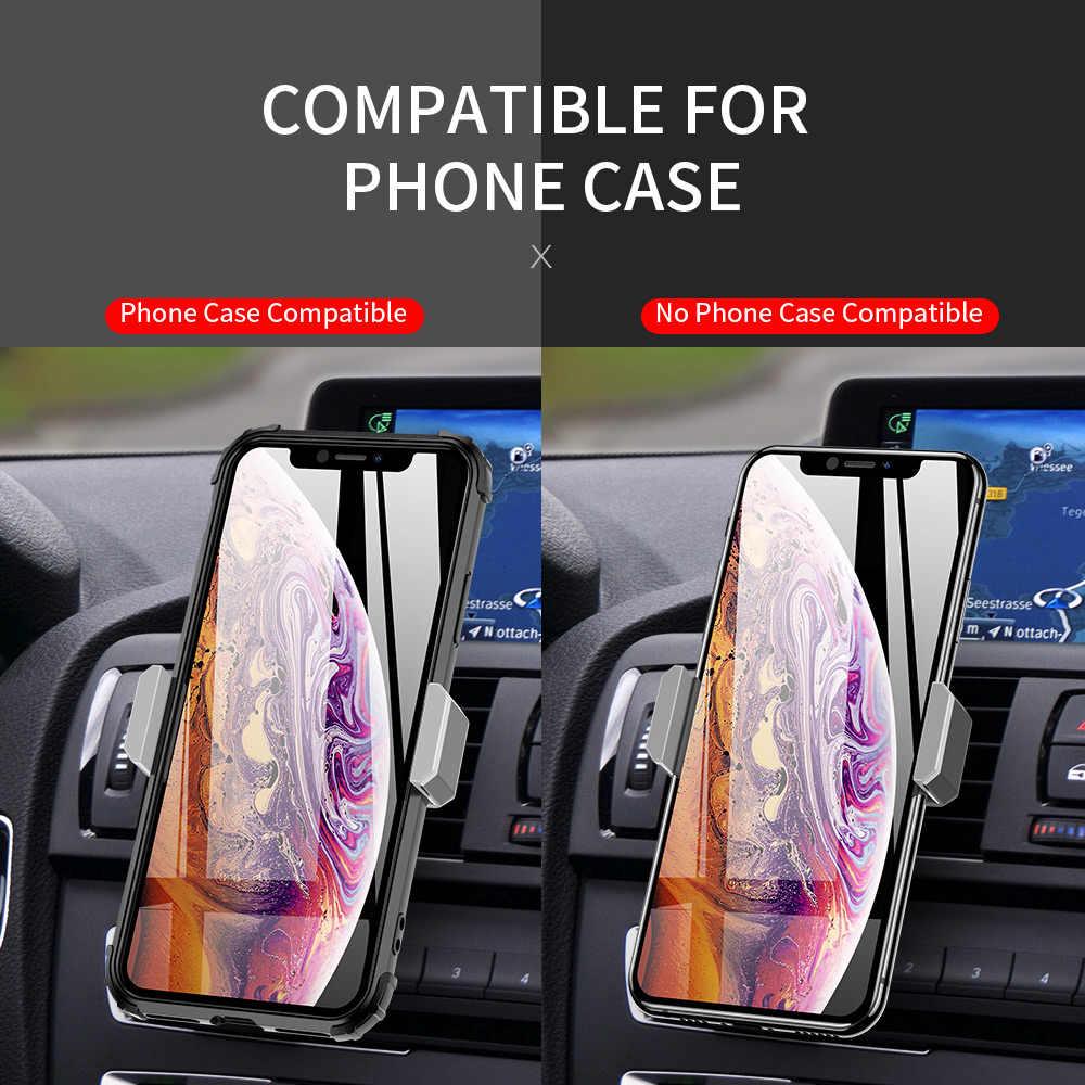 Soporte universal de teléfono para coche en soporte de montaje en rejilla de ventilación para iphone 6 7 8 Plus X XS XR MAX soporte para teléfono móvil soporte de coche