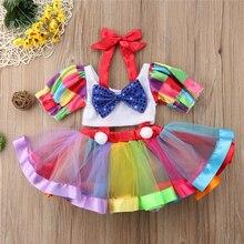 2019 conjunto de ropa de verano para bebés, niñas, niños, fiesta de circo, vestido de cumpleaños y Tops cortos, ropa de Halloween para niñas 2-6Y