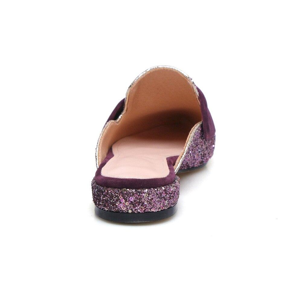 Boda Punta Dentro Nuevo Genuino 2018 Mules De azul Zapatos púrpura Mujeres Sandalias Señoras Mujer Morazora Cuero Verano Estrecha Negro Cielo gAxBqZwB