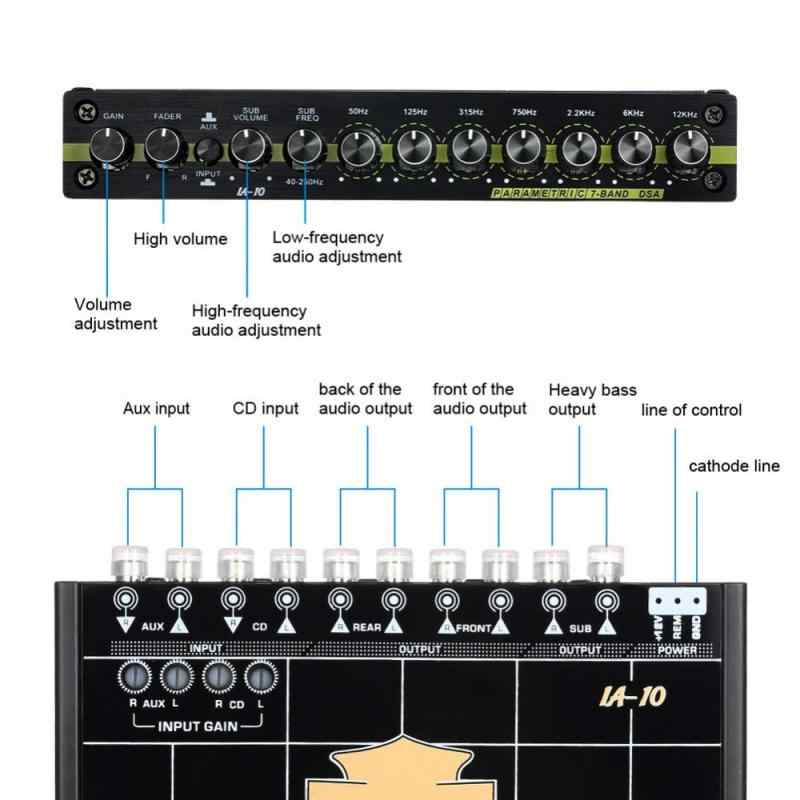 Car Audio Modified Graphic Equalizer EQ 7s Car Audio Stereo Tuner W/ 3 5mm  Aux-in & Knob Car Accessories