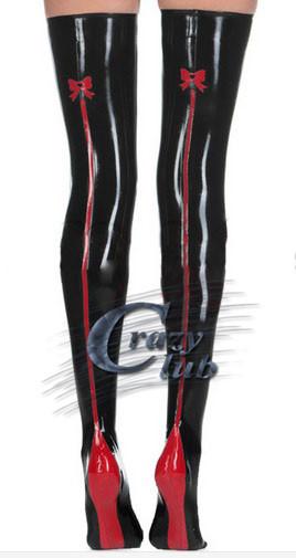 2016 la venta Caliente de Látex medias fetiche de látex de caucho Negro medias con red back flores arcos medias Envío Gratis