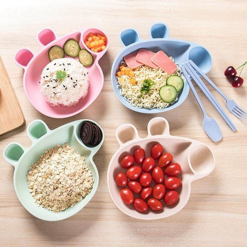 Мультфильм Детские Посуда шар Piggy пшеничной соломы ребенка блюдо детская рисом плиты суб-plate ребенка чаша для маленьких детей копилка