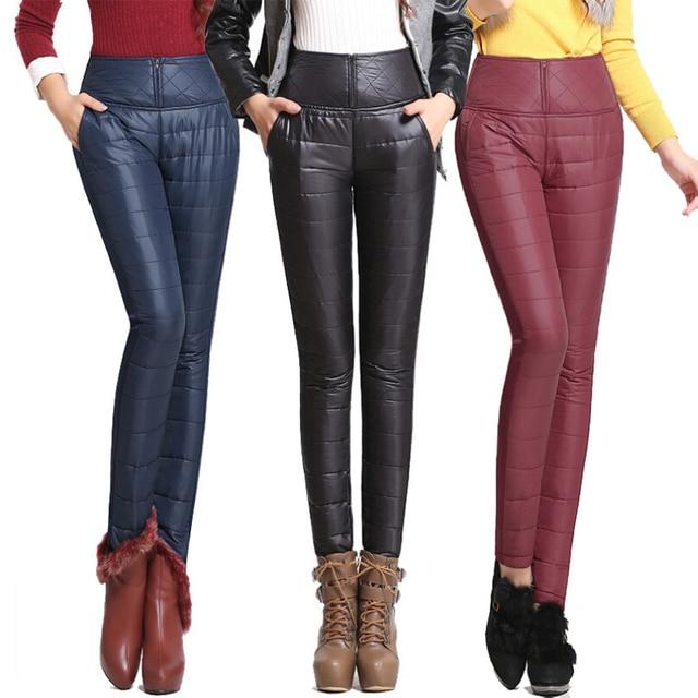 60d628de6d 2016 Nuevos Pantalones de Invierno Outer Wear Mujer de Talle Alto Delgado  de La Manera Caliente