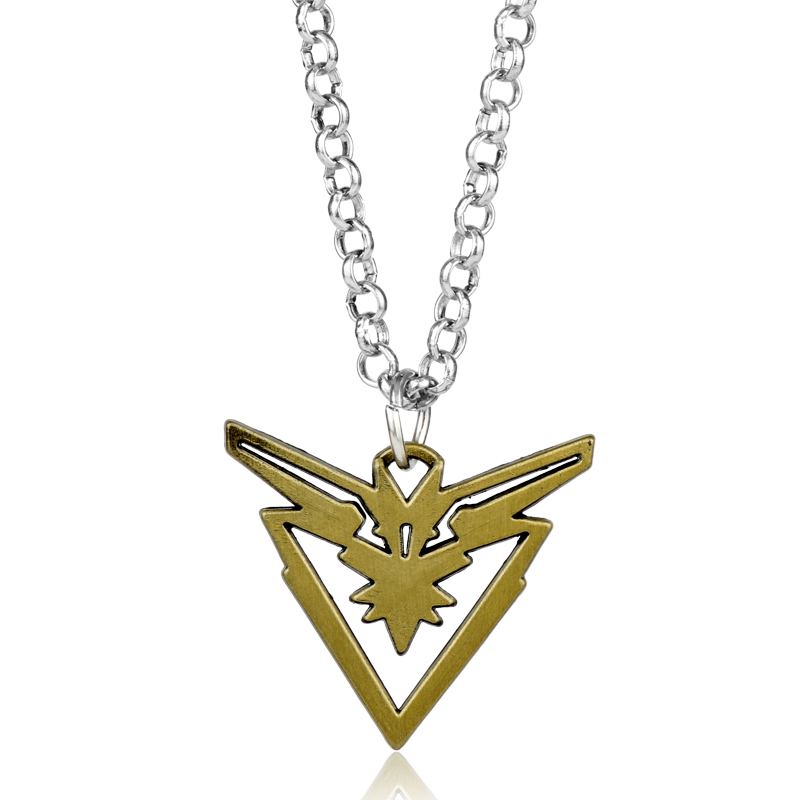 dongsheng Pokemon Go Metal Necklace Game Team Instinct Logo Bronze Necklace Pendant for Women and Men fans image