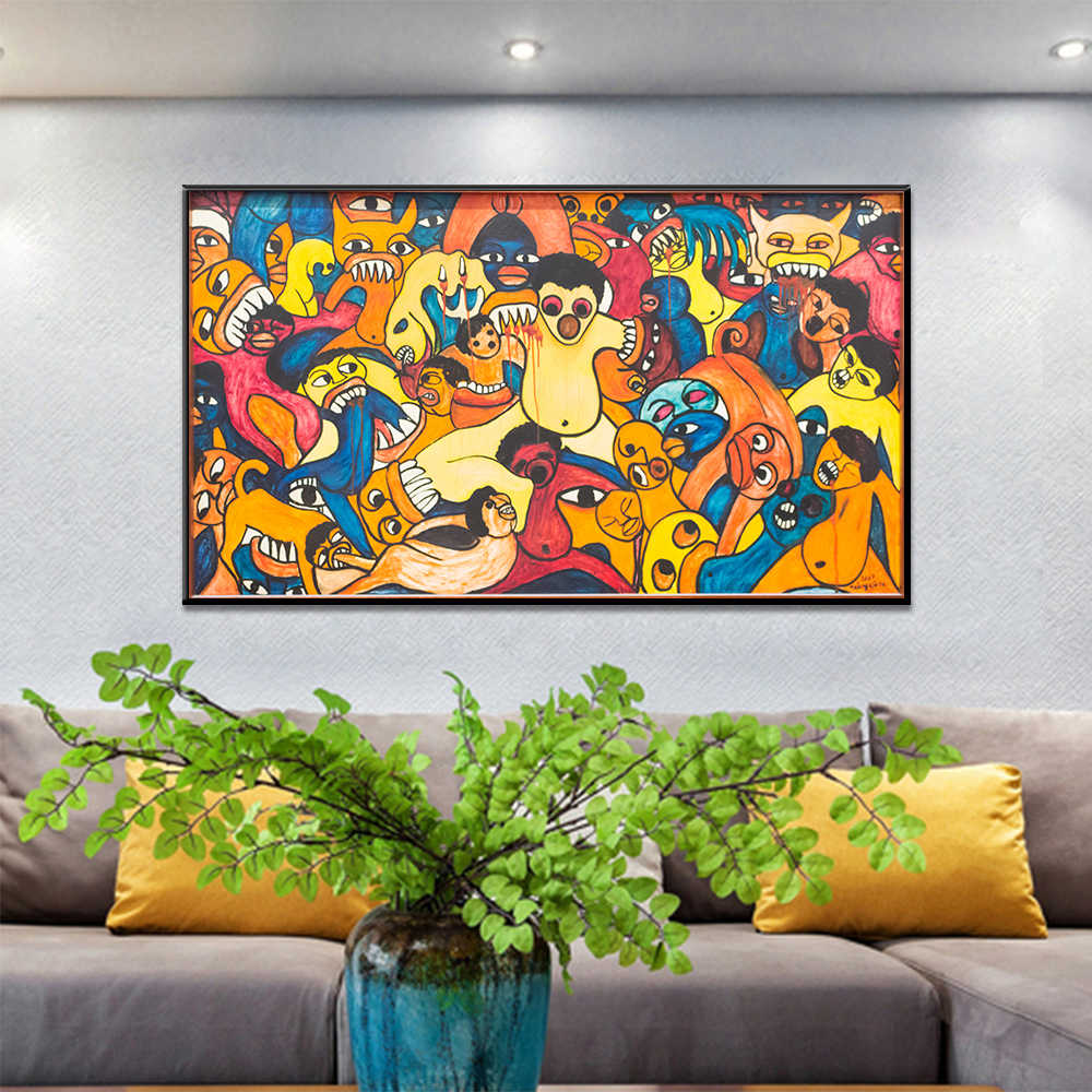 Graffiti abstracto Bite Thriller Posters e impresiones imagen de pared para sala de estar decoración del hogar lienzo pintura