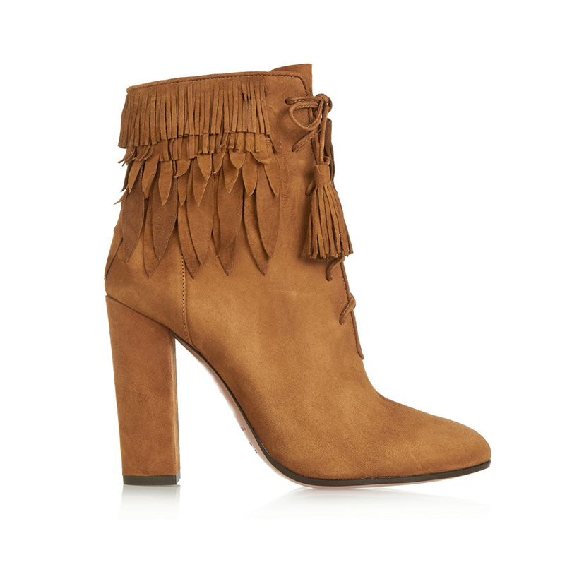 ФОТО Ladies Boots 2017 Leisure Suede Round Toe Tassel Square Heel Ankle Boots For Women Lace Up Shoes Handmade Large Size US 4-15.5