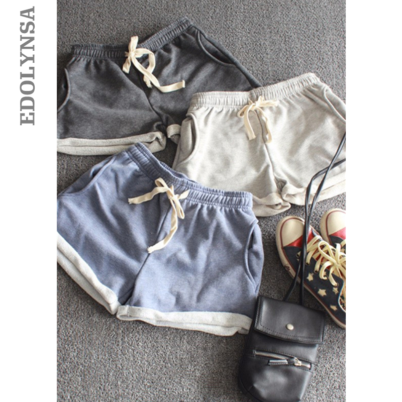 2019 Summer Women   Shorts   Cotton Elastic Waist Casual Pocket   Shorts   Plus Size Mini   Shorts   With Adjustable Waistband #B027
