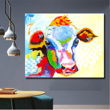 Free Shipping Skills Artist printed High Quality Abstract Animal Cow Oil Painting Pop Art For Living Room Decoration