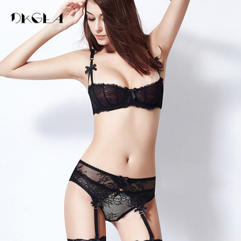 Ultrathin lingerie set plus size bras A B C Cup sexy lace bra set transparent women underwear black embroidery Bow 4