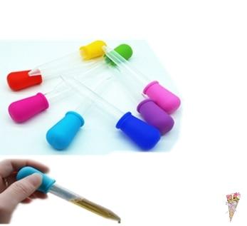 5ML 2ML Clear Silicone Plastic Baby Medicine Dropper Spoon Pipette Liquid Food Dropper Burette  12cm*2cm Random Color
