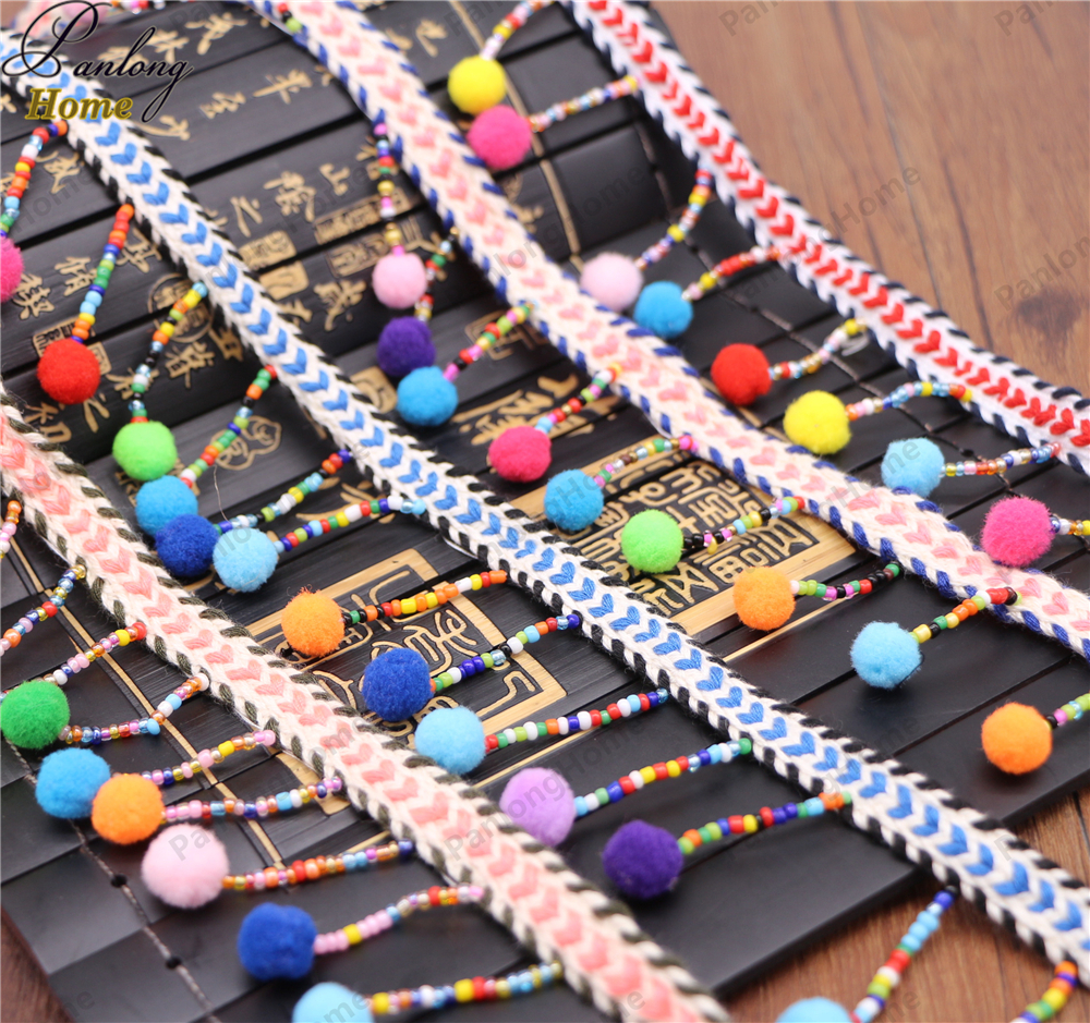 PanlongHome 10Yards / Lot National Style Hand - Nail Beads Hair Ball Row To Tassel Clothing Lace Ribbon Luggage Accessor
