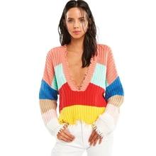 MUXU crop top rainbow sweater Stripe Woman Tassels Easy Irregular Knitting Unlined Upper Garment pullover women tops femme