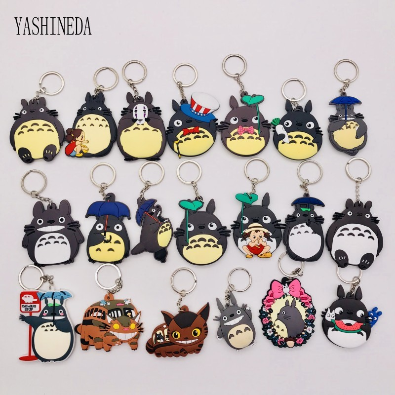 50pcs lot Japanese Anime My Neighbor Totoro Keychain PVC 3D Double Side Totoro Key Ring Key