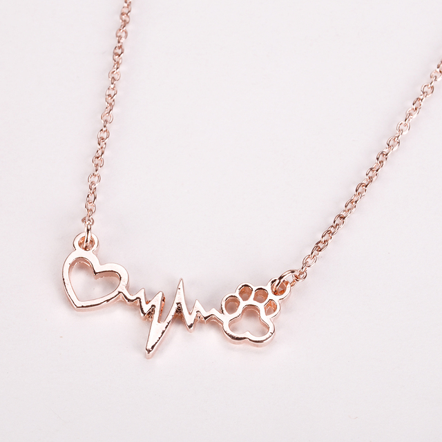 Footprints Paw Heart Love Chain Pendant Necklace  1