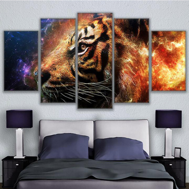 Large Canvas Painting For Bedroom Frame 5 Panel Animal Tiger Printed ...