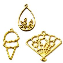 5Pcs Leaf Fan Ice Cream Pendant Blank Resin Frames Bezel Setting Jewelry Making