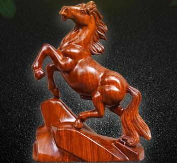 Carved wooden horse odiac yellow flowers pear solid wood furniture office rosewood home decoration statue factory direct selling