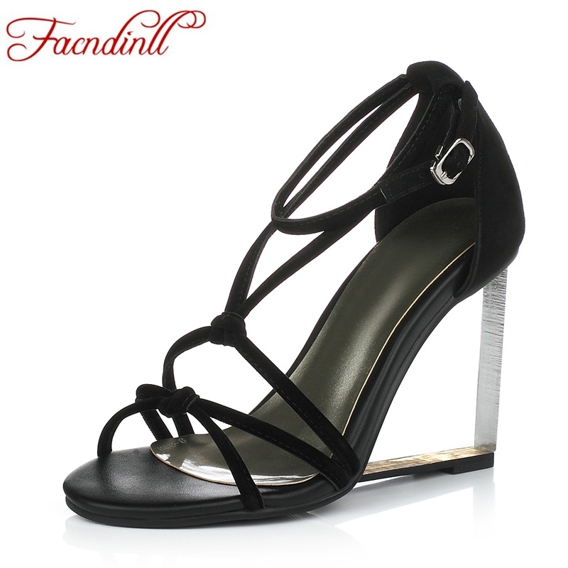 FACNDINLL 2018 new fashion summer shoes genuine leather women sandals wedges high heels open toe beach shoes woman party shoes facndinll new genuine leather summer