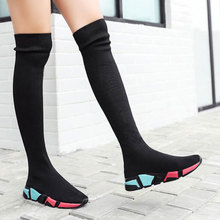 Купить с кэшбэком Elastic Over The Knee Boots Women Socks Black Boots Long Thigh High Slim Knitting Boots Sneakers Platform Designer Long Shoes