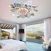 Mirror Wall Stickers Bedroom Living Room Ceilin Decoration Flowers Wall Sticker Acrylic Mirror Home Decor 3D
